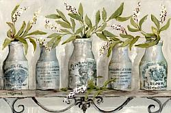 Ready to hang Print - Mustard Pots on a Shelf  (41 x 27cm) FREE POSTAGE Australia wide