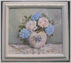 ORIGINAL Painting - Hydrangeas and Roses