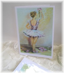 Gift Card-Single card - Miss mauve Ballerina-Free Postage Australia wide only