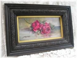 Original Painting-Vintage FrameCrimson RosesFree Postage Australia wide