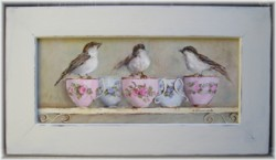 Original Painting- Trio of Birds and Tea Cups-FREE POSTAGE AUSTRALIA WIDE