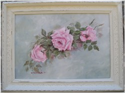 Original Painting -Cascading Roses - LARGER SIZE-FREE POSTAGE AUSTRALIA WIDE