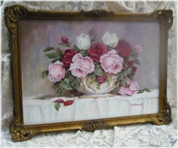 Original Painting-Stunning Assorted Roses in a Bowl-POSTAGE is included Australia wide