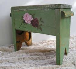 Hand painted Depression Stool - POSTAGE is included Australia wide