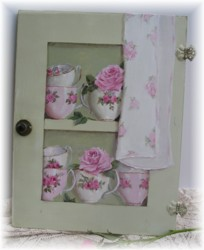 Original Painting on Old Cupboard door - Tea Cups and Roses- Postage is included Australia wide