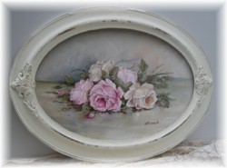 Original Painting- Oval Framed Assorted laying Roses-Postage is included Australia wide
