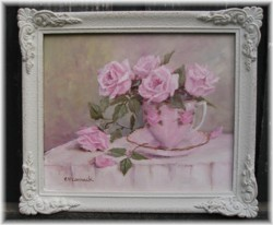 Original Painting- Rosy Cup & Saucer - FREE POSTAGE Australia wide