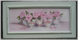 Original Painting-China Tea Cups and Roses-FREE POSTAGE AUSTRALIA WIDE