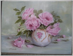 Ready to Hang Print - Larger size - Rose Bowl and Roses-POSTAGE included Australia wide