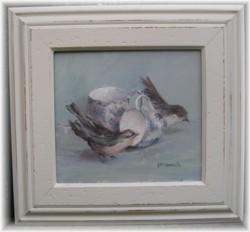 Original Painting - Pair of Tea Cups and Birds - Free Postage AUSTRALIA WIDE