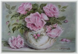 Ready to Hang Print - Roses in a bowl- Larger size-POSTAGE included Australia wide