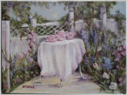 Original Painting - Garden Tea Time - Free Postage Australia wide