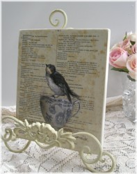 Ready to hang Print - Bird in a Vintage Tea Cup  - FREE POSTAGE Australia wide