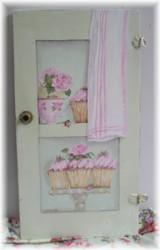 Original Painting on Vintage Cupboard door  Cup cakes & Tea Cups - Postage is included Australia wide