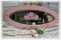 Hand Painted Vintage Oval Mirror - Postage is Included Australia Wide