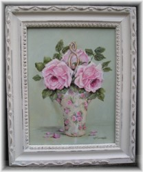 Original Painting - Chintz China Basket of Roses - Postage is included Australia wide