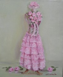 Original Painting on Stretched Canvas  Dress Form