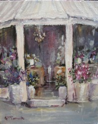 Original French inspired Painting - Fleuriste on the corner  - Postage is included