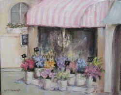 Original French inspired Painting - French Flower Shop - Postage is included