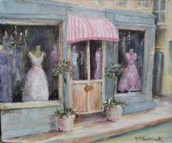 Original French inspired Painting - Boutique - Postage is included