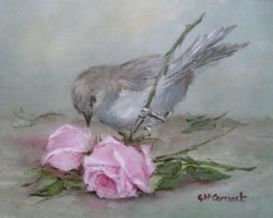 Ready to Frame Print - Sweet Bird and Roses - Free Postage World Wide