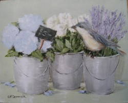 Ready to Frame Print - Flowers for sale with lil' Bird - Postage is included Australia Wide