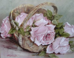 Ready to Frame Print - Basket of Roses - Postage is included Australia Wide