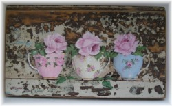 Original Painting on Chippy Panel - Tea Cups & Roses Trio - Postage is included Australia wide