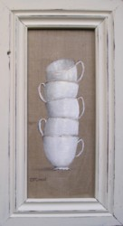Original Painting - Stacked Cafe Cups - Postage is included in the price Australia