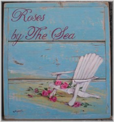 "Original Painting on Chippy Panel - ""Roses by The Sea"" - Postage is included Australia wide"
