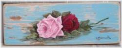 Hand Painted - Pair of Roses on Chippy Timber - Postage is included Australia wide