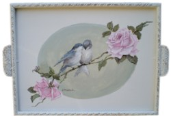 Original Painting on Vintage Tray - Birds & Roses - Postage is included Australia wide