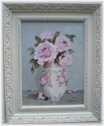 Original Painting - Floral Patterned Jug of Roses - Postage is included Australia Wide