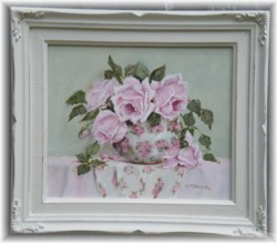 Original Painting - My Garden Roses in a Chintz Bowl - FREE POSTAGE Australia wide