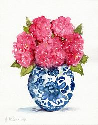 "Water colour Original ""Pink Hydrangeas in Blue & White"""