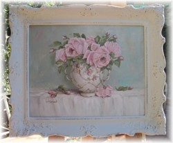 Original Painting - Large size - Display of Pink Roses - Postage is included Australia wide