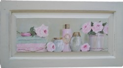 ORIGINAL PAINTING - Pink Rosy Bathroom - Postage is included Australia wide