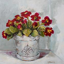 Original Painting on Canvas - Pot of Primulas - Postage included Aus wide