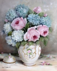 Ready to Frame Print  - Roses & Hydrangeas - Postage is included Worldwide