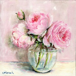 Original Painting on Canvas - Roses in a Glass Bowl - 20 x 20cm series