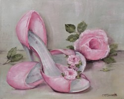 "Original Painting on Canvas -""Rosy Shoes"" - Postage is included Australia Wide"