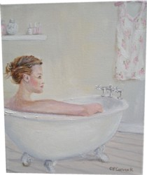 Original Whimsical Painting - Soaking in the Bath - Postage is included Australia Wide