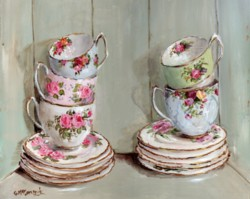 PRINT ON PAPER - 5 Tea Cups in a Vintage Cupboard - FREE  Shipping WORLD WIDE