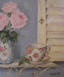 Original Painting on Canvas - Tea cup and roses  - Postage is included Australia Wide