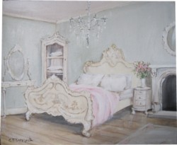 Original Whimsical Painting - The French Bedroom  - Postage is included Australia Wide