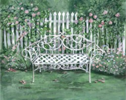 PRINT ON PAPER - The Garden Bench - Free postage Worldwide