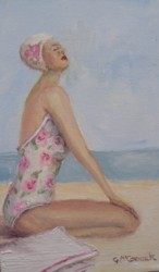 Original Beach Themed Painting - The Sun Worshipper - Postage is included Australia wide