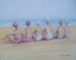 Original Whimsical Painting - The shabby chic beach beauties - Postage is included Australia Wide