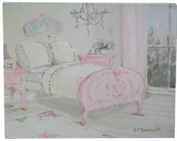Original Whimsical Painting - The Pink Bedrrom Setting - Postage is included Australia Wide