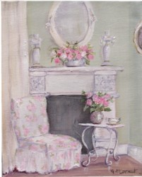 Original Whimsical Painting - The Shabby Chic Sitting Room - Postage is included Australia Wide